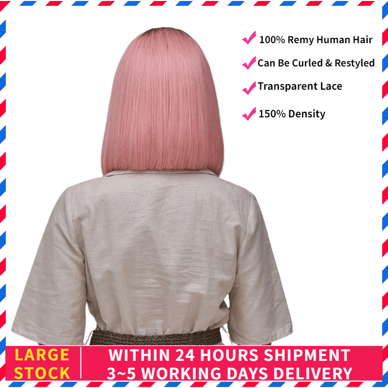 AW 10'' 12'' Rose Pink Straight Bob Transparent Half Lace Wig Pre Plucked Hairline Lace Front Remy Human Hair Wig 150% Density