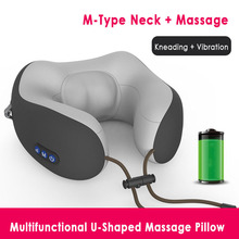 U-Shaped Travel Pillow Neck Massage Memory Sponge Cushion Rechargeable Electric Vibration Kneading Outdoor