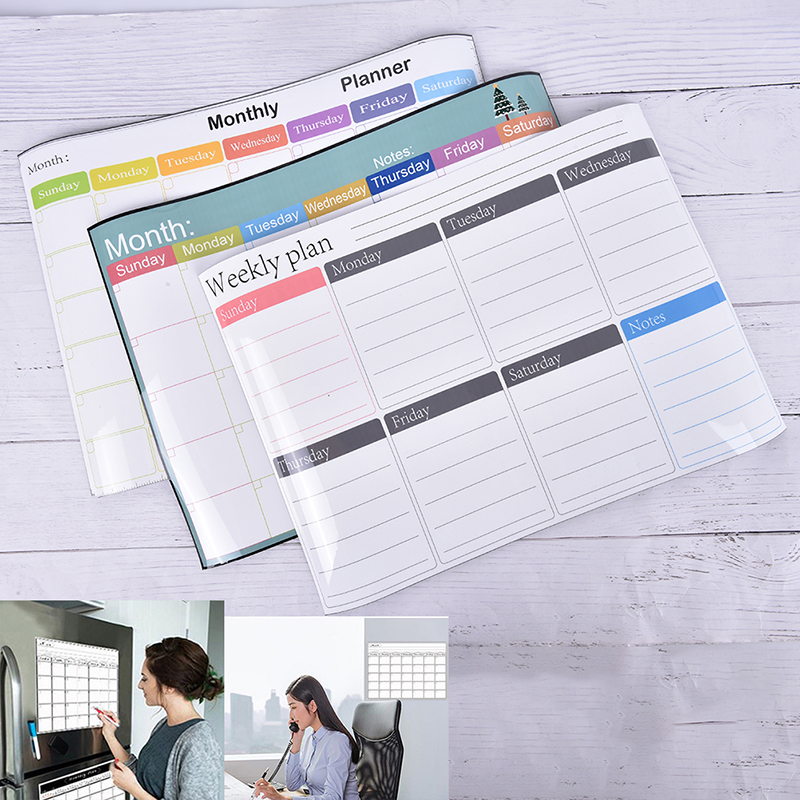 1PC Magnetic Weekly Planner Fridge Board - Notice Memo Pad Meal Notebook Whiteboard Meal Planner
