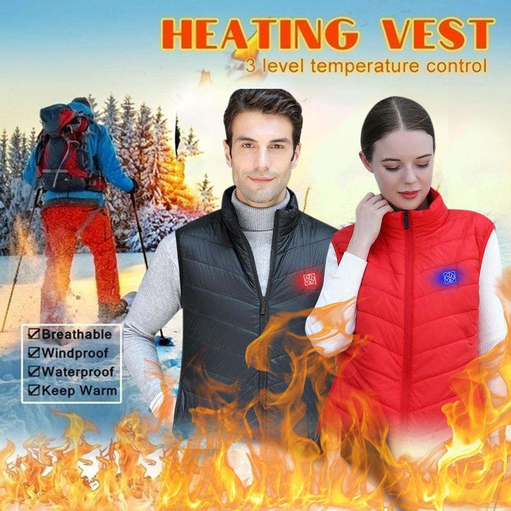 Men And Women Heating Jacket Unisex Sleeveless Coat Pocket With Wool Outdoor Winter Warm Loose Hiking Skiing Vest For Couple