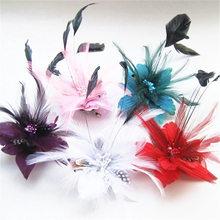 50pcs Feather Wedding hairpins Lots Headdress head flower Clip brooch fashion Breast pin School Girl Hair accessories