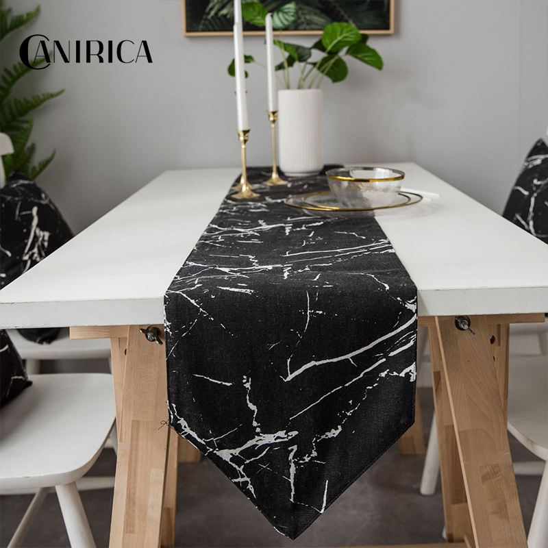 CANIRICA Table Runner Mable Table Runners Modern Tafelloper Dining Table Decor Camino De Mesa Kitchen Decoration Black White