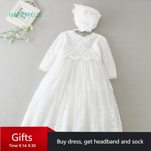 HAPPYPLUS Baby Dress Long Sleeve/Sleeveless Kids Second First Birthday Girl Party Gown for Christening Infant Baptism Dresses