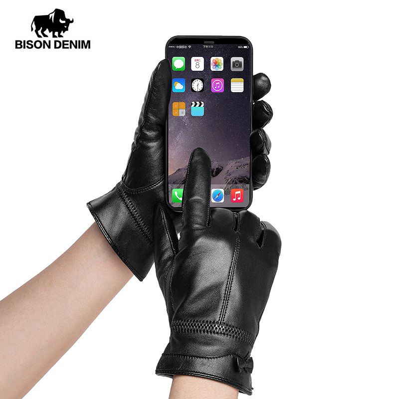 BISON DENIM Genuine Sheepskin Leather Women Warm Gloves Autumn  Winter Thicken Touch Screen Fashion Gloves For Female S017