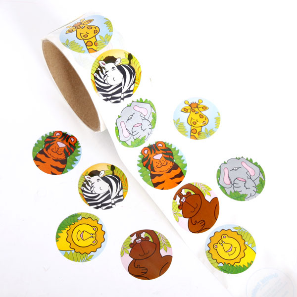 100pcs/1 Roll Reward Stickers Roll Kids Sticker Scrapbooking Deer Lion Tiger Monkey Animal Zebra Elephant 3D Cartoon Characters Funny Toys For Children