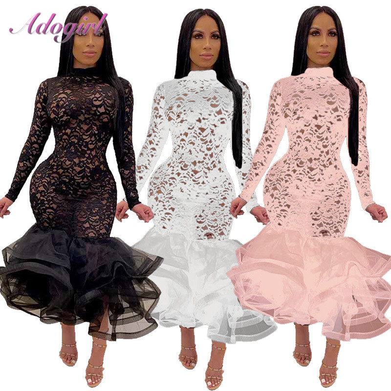 Sexy Floral Organza Sheer Mesh Lace Ruffle Patchwork Evening Party Dress 2020 Casual Long Sleeve Mock Neck Mermaid Club Dresses