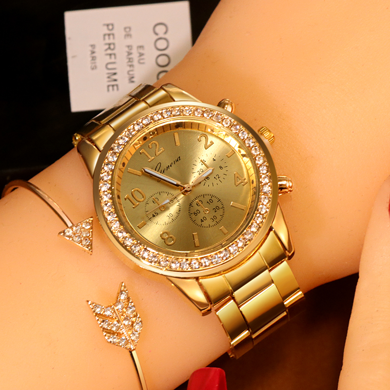 New Watch Women Classic Geneva Luxury Ladies Watches Womens Full Steel Crystal Metal Wristwatch Relogio Feminino Reloj Mujer