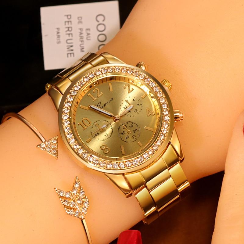 New Watch Women Classic Geneva Luxury Ladies Watches Womens Full Steel Crystal Metal Wristwatch Relogio Feminino Reloj Mujer