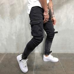OLOME брендовые новые мужские Мульти-карманные мужские байкерские джинсы тонкие карго джоггеры брюки для мужчин черный цвет уличная одежда ...