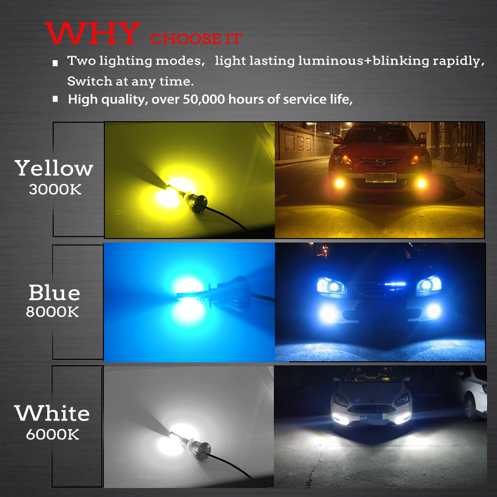2PCS LED Bulbs H3 H11 880 White And Yellow Two Lighting Modes LED Fog Light Bulb Auto Car Driving DRL Lamp 12V 24V