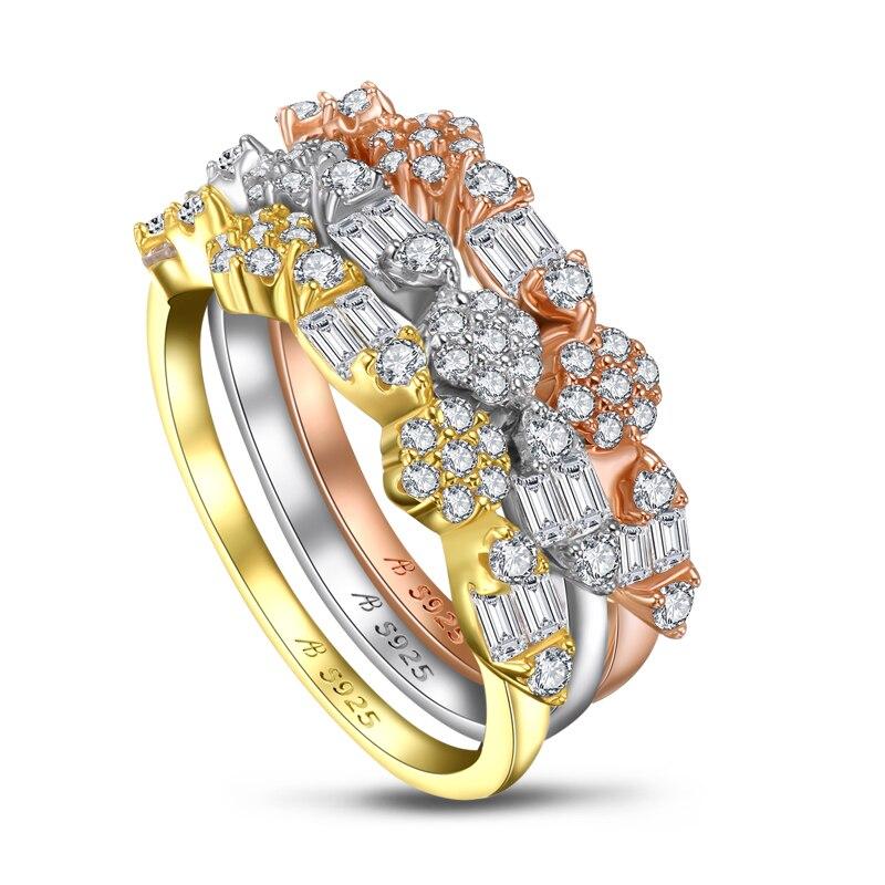 AINUOSHI mode 925 argent Sterling demi éternité bague de fiançailles ensembles simulé diamant mariage argent 3 pièces anneaux bijoux - 2