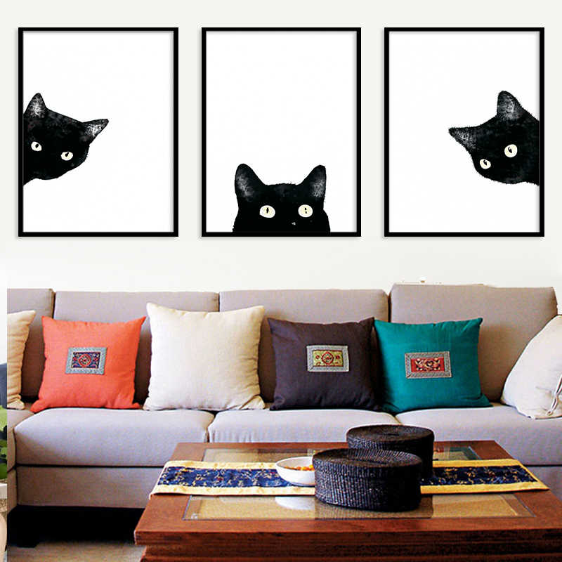 Watercolor Black White Cat Kitten Face Animal Posters and Prints Nordic Canvas Painting Living Room Wall Art Pictures Home Decor