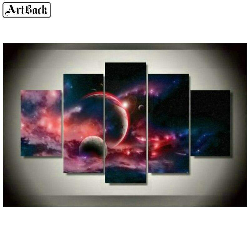 Пятиконечная Алмазная Картина Пейзаж планеты 5d полная квадратная дрель звездное небо Мозаика из эпоксидной смолы Ремесла Стикеры для укра