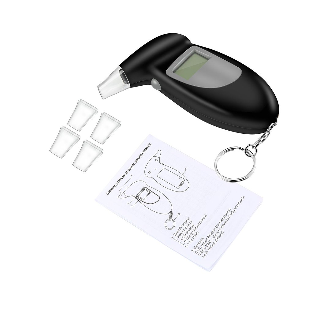 Alcohol Breath Tester Breathalyzer Analyzer Detector Test Keychain Breathalizer Breathalyser DeviceLCD Screen