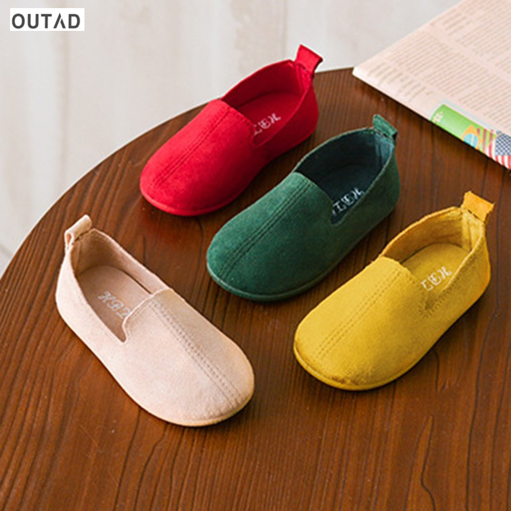 OUTAD Children Shoes Spring Fashion Girl Shoes Candy Color Shoes Soft PU Anti-slip Rubber Sole Leather Flat Girls Shoes