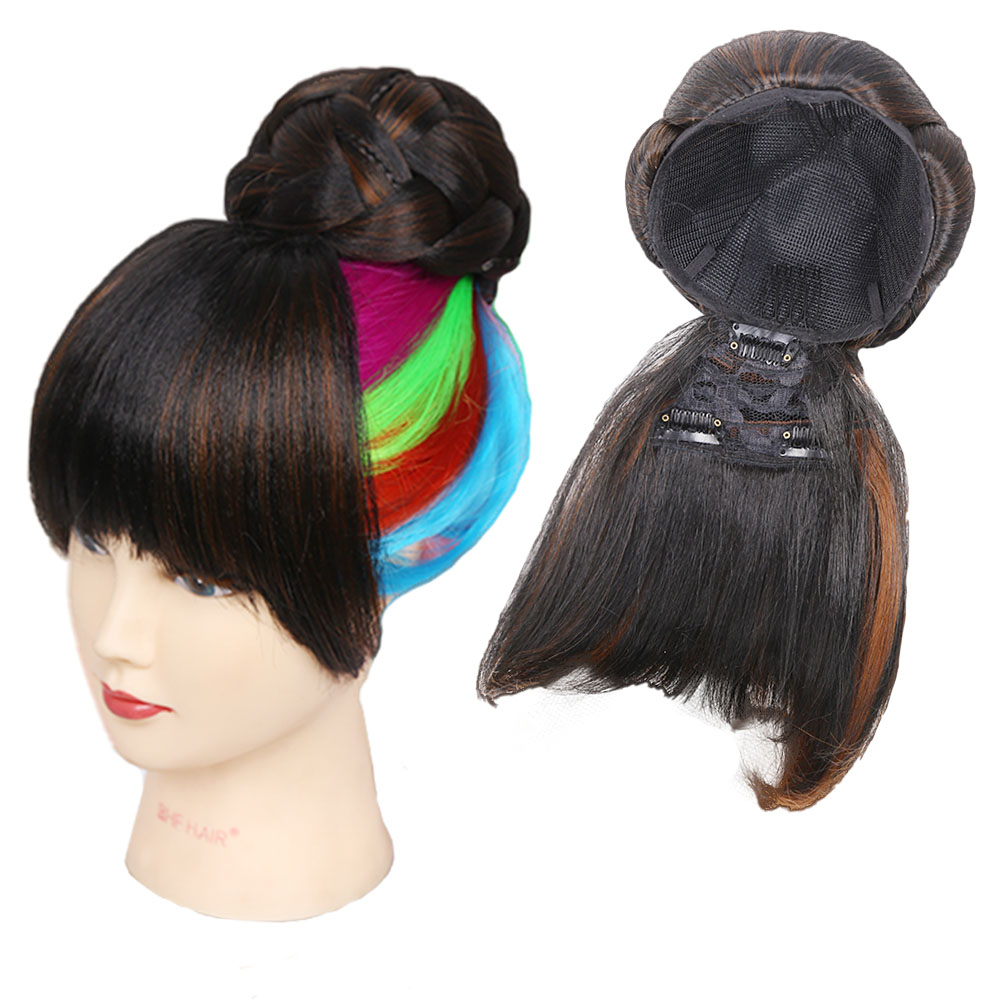 Amir Synthetic Hair Buns With Bangs Clip-in Chignons Heat Resistant Fiber Black Burgundy ColorsHair Piece Ponytail For Women