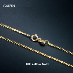 VOJEFEN AU750 18k Pure Gold Necklace Minimalist Rope Necklace Chain Necklace Gold for Women Fine Jewelry