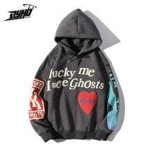 Carta graffiti impresso hoodies homem sorte me eu vejo fantasmas homens sweatshirts velo streetwear harajuku hip hop sudaderas hombre