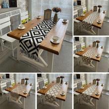 Toalha de mesa de linho de algodão estilo simples pano franjas para o natal restaurante casamento decoração doméstica 32*160cm