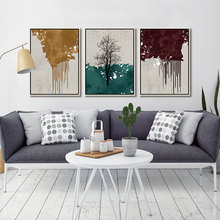 Drop Shipping 3 Piece Abstract Color Block Golden Brown Green Stitching Picture Wall Art Print Poster Canvas Painting Home Decor printed abstract graphics psychedelic nebula space painting canvas print decor print poster picture canvas free shipping ny 5746
