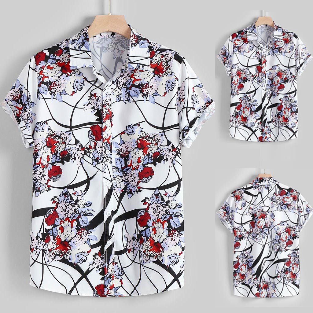 Men's Summer Fashion Casual Lapel Pattern Print Short Sleeve Shirt Top Blouse Casual Blouse Daily Wearing Blouses And Top 2020