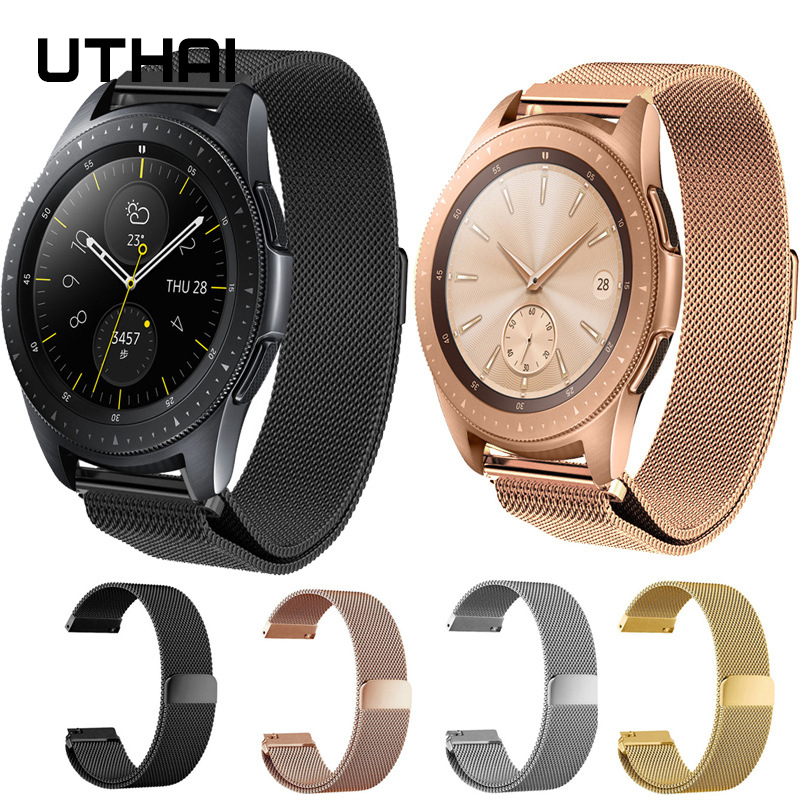 UTHAI P48 20mm 22mm Bands For Samsung Galaxy Watch 42mm/Galaxy Watch Active/46mm Magnetic Loop Watch Band