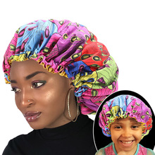 2pcs/set Parent child bonnet hat african print hair sleep turban cap Women Hair Treatment Protect From Frizzing
