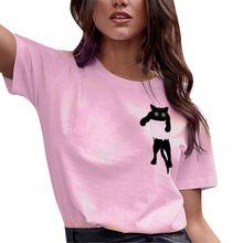 2020 nova impressão do gato das mulheres camiseta solta manga curta casual simples o pescoço topos primavera outono streetwear blusas femininas deverão