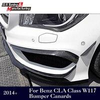 Para mercedes w117 fibra de carbono pára choques canards para benz cla classe w117 2014 +|bumper canards|fiber bumper|carbon fiber canards -