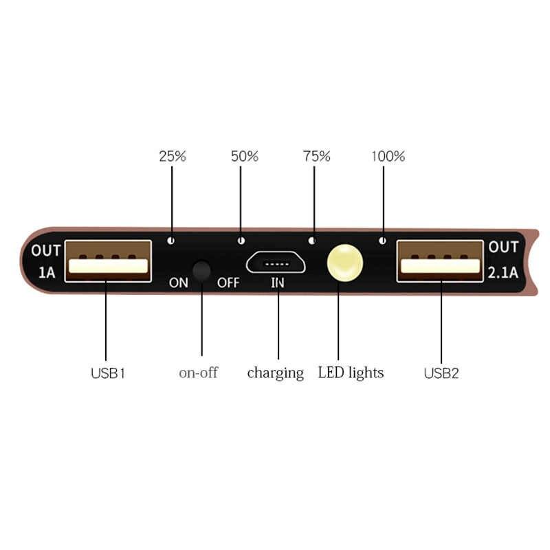Batería Externa del Banco de energía Solar 30000mah 2 USB LED Powerbank Cargador Solar portátil del teléfono móvil para Xiaomi mi iphone Samsung