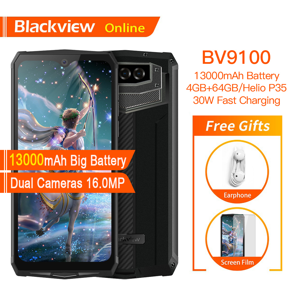 Blackview BV9100 Original Waterproof Rugged Smartphone 13000mAh 4GB+64GB Outdoor Cellphone Android 9.0 Helio P35 4G Mobile Phone