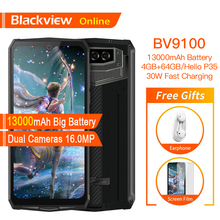 Blackview BV9100 원래 방수 견고한 스마트 폰 13000mAh 4 기가 바이트 + 64 기가 바이트 야외 핸드폰 안드로이드 9.0 Helio P35 4G 휴대 전화