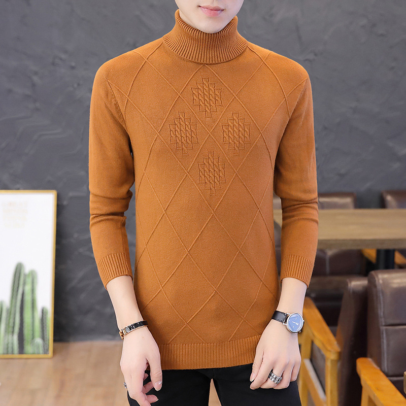 New Sweater Men Fashion White High Collar Pullover Long Sleeve Winter Red Black Youth Men Sweaters Turtleneck Pullovers Casual