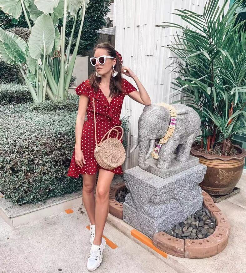 2020 Summer Polka Dot Dress V Neck Wrapped Ruffles Mini Dress Women Slim Bodycon Blouses Korean Fashion Clothes