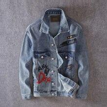 Куртка мужская джинсовая с рисунком модная уличная одежда в