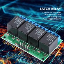 4 Channel 5V  Flip-Flop Latch Relay Bistable Self-locking Low Pulse Trigger Module MCU Control