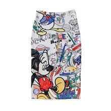 купить Women Pencil skirt High Waist Cartoon Mickey Skirt Print Knee Length Slim Skirts Harajuku Street Kwaii Stretchy Pencil Skirt по цене 614.19 рублей