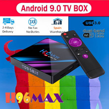 H96 MAX RK3318 Android TV BOX 9.0 Smart cajas 4GB RAM 32G/64G ROM Google Voice Assistant Play Store Netflix Youtube