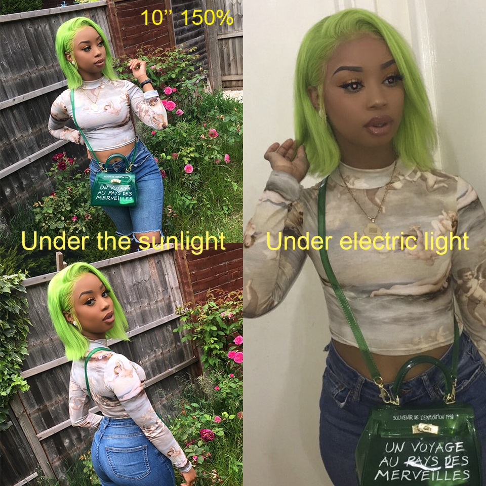 Lime Green Human Hair Bob Wigs Remy Pre Plucked Short 13X4 Neon Green Lace Front Wig With Baby Hair For Black Women Guanyuhair