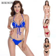 New Sexy Bronzing Halter Swimsuit Women String Push Up Bikini Strappy Backless Swimwear S-L Girl Bathing Suit Micro Bikini Set stylish halter strappy backless crochet underwire bikini set for women