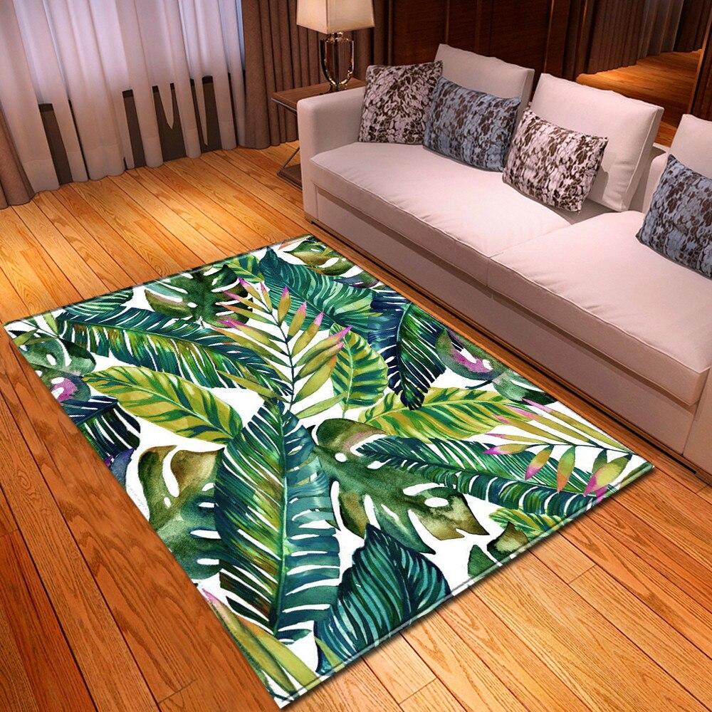 Rainforest Home Decor Carpets Flannel Anti-slip Bedroom Bedside Rug Dining Room Area Rug 3D Palms Leaves Living Room Carpet