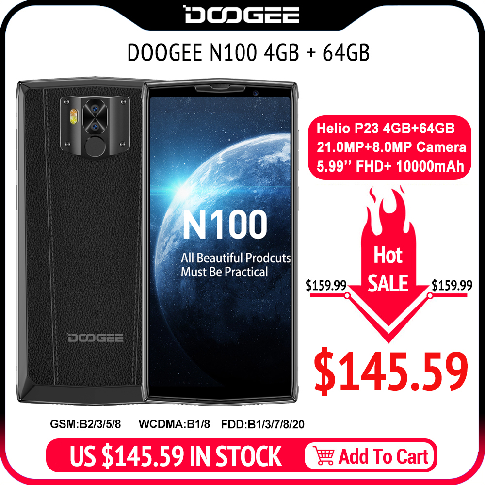 Фото. DOOGEE N100 мобильный телефон 10000 мАч батарея отпечатков пальцев 5,9 дюймов FHD + Дисплей 21 МП ка