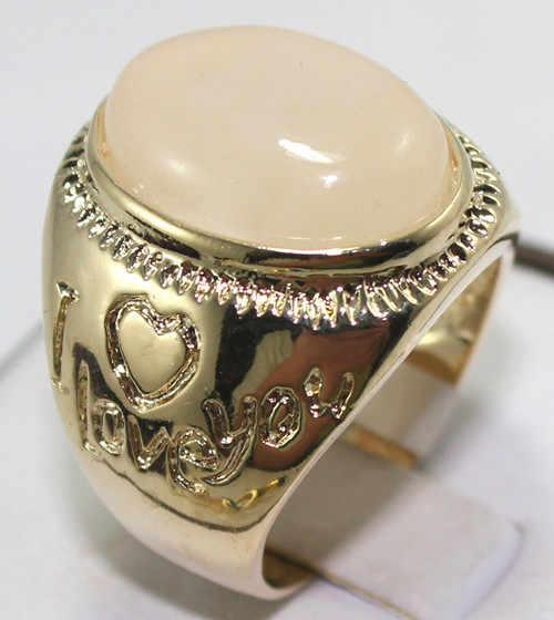 R00004 ใหม่แฟชั่น 18K Gold Plated แหวนหยกสีขาว 5.29