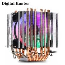 مبرد وحدة المعالجة المركزية ، 6 أنابيب حرارية ، مروحة RGB PWM 4PIN ، صامت لـ Inte LGA 115X 1200 1366 2011 V3 X79 X99 AM4 Socket Ventilador BT6