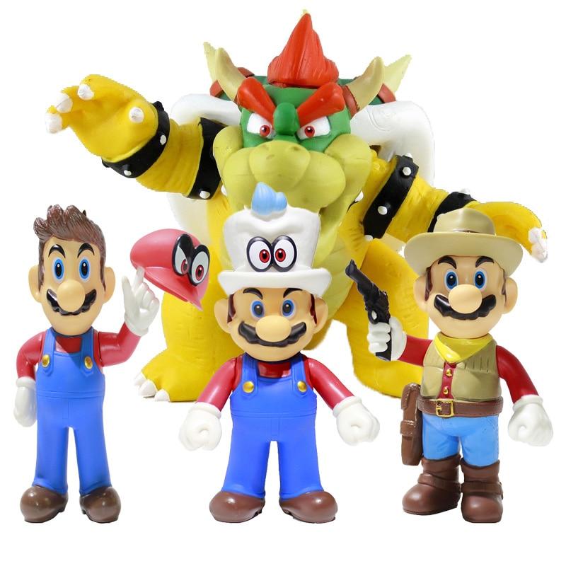 13cm Super Mario Bros Odyssey Cappy Bowser Koopa Action Figures Toys Dolls Model