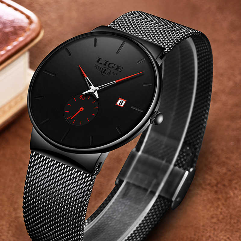 LIGE hommes montres de luxe marque homme Ultra mince montre cadeau homme horloge affaires Quartz montre-bracelet pour hommes Relogio Masculino