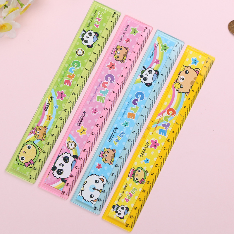 40 Pcs/lot Cartoon Animal Ruler Cute 20 Cm Measuring Straight Rulers Drawing Tool Promotional Stationery Gift School Supplies