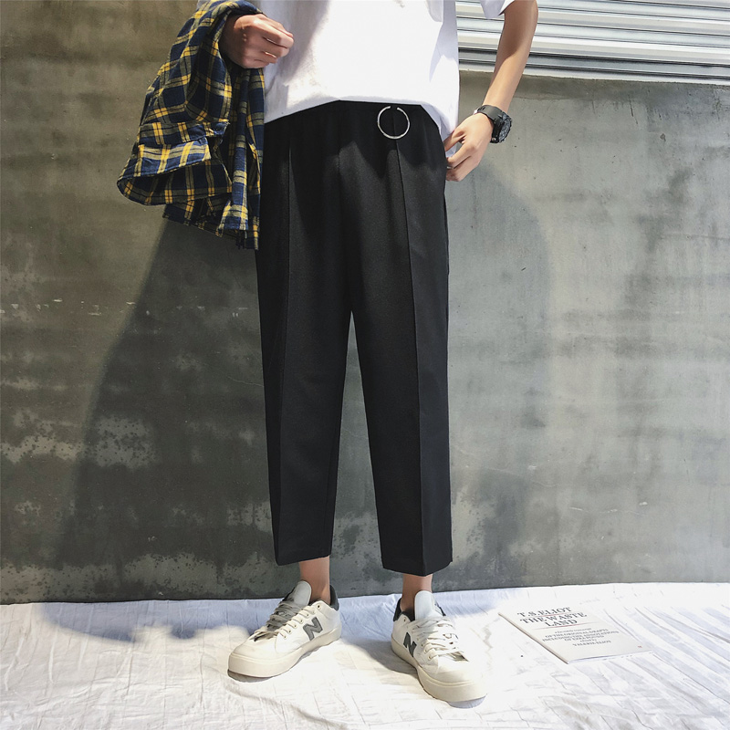 Male Han Edition Tide Relaxed Autumn Nine Points Men's Casual Pants Men's Trousers Summer Trousers Straight Trousers For Men