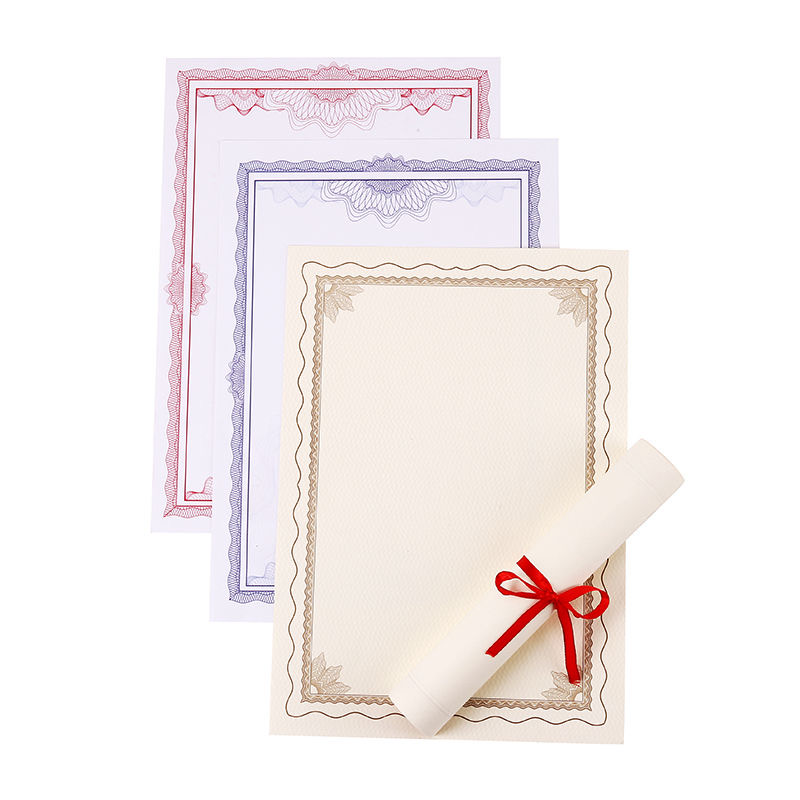 10 Sheets Award Honor Certificate Blank 12K Paper Diploma Certificate Paper for Graduation Ceremony School Office Supplies