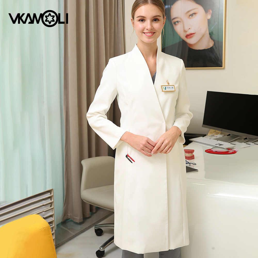 Vkamoli ארוך שרוול רפואי מדים חולים מרפאת שיניים אחות בגדי יופי סאלו מרקחת לשפשף מעבדה מעיל גלימות שמלה